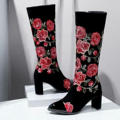 Details about  /Fashion Womens Chinese Embroidery Ladies Knee High Riding Boots Block Heel Shoes