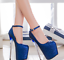 Womens-Platform-Super-High-Heels-Round-Toe-Pumps-Ankle-Buckle-Belt-Bling-Shoes thumbnail 2