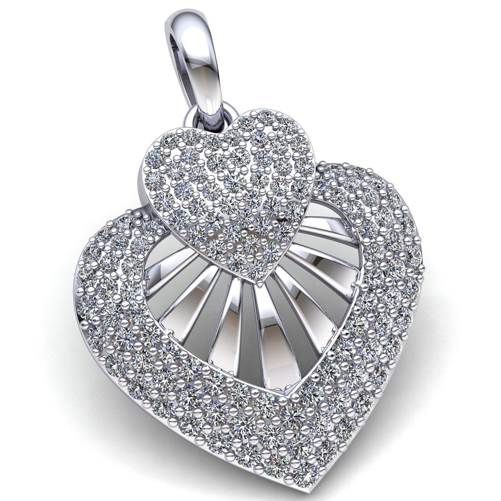Genuine 1.5ctw Round Cut Diamond Ladies Cluster Heart Pendant 10K gold