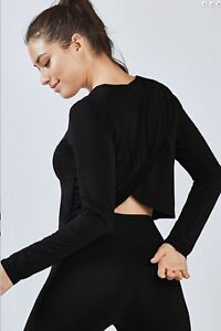 NWT-50-Fabuletics-Avery-Long-Sleeve-Twist-Back-Top-Black-Size-Medium