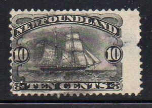 Newfoundland  Sc 59 1887 10c black schooner stamp used Free Shipping