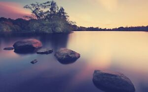 Sunset-Lake-Rocks-Trees-Colourful-Landscape-Large-Wall-Art-Canvas-Pictures