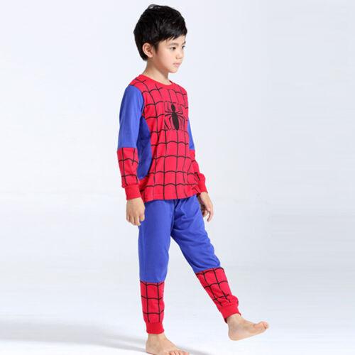 BOYS KIDS NOVELTY SPIDERMAN BATMAN SUPERMAN PYJAMAS NIGHTWEAR AGES 0-8 YEARS