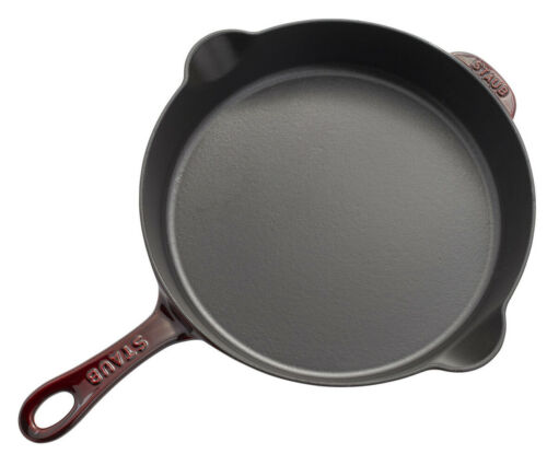 """CHOOSE FROM 5 COLORS Staub Cast Iron 11/"""" Traditional Skillet Cooking Pan"""