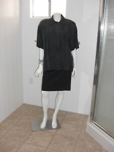 CROQUET-CLUB-Black-100-SILK-Blouse-Button-Up-Front-Pocket-Short-Sleeves-Size-M