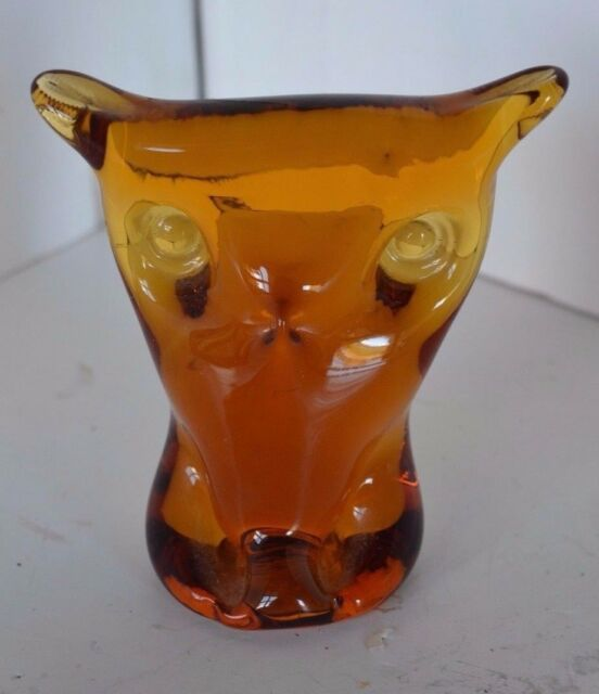 Vintage Viking Hand Made 4 Amber Glass Owl Paperweight Figure Ebay