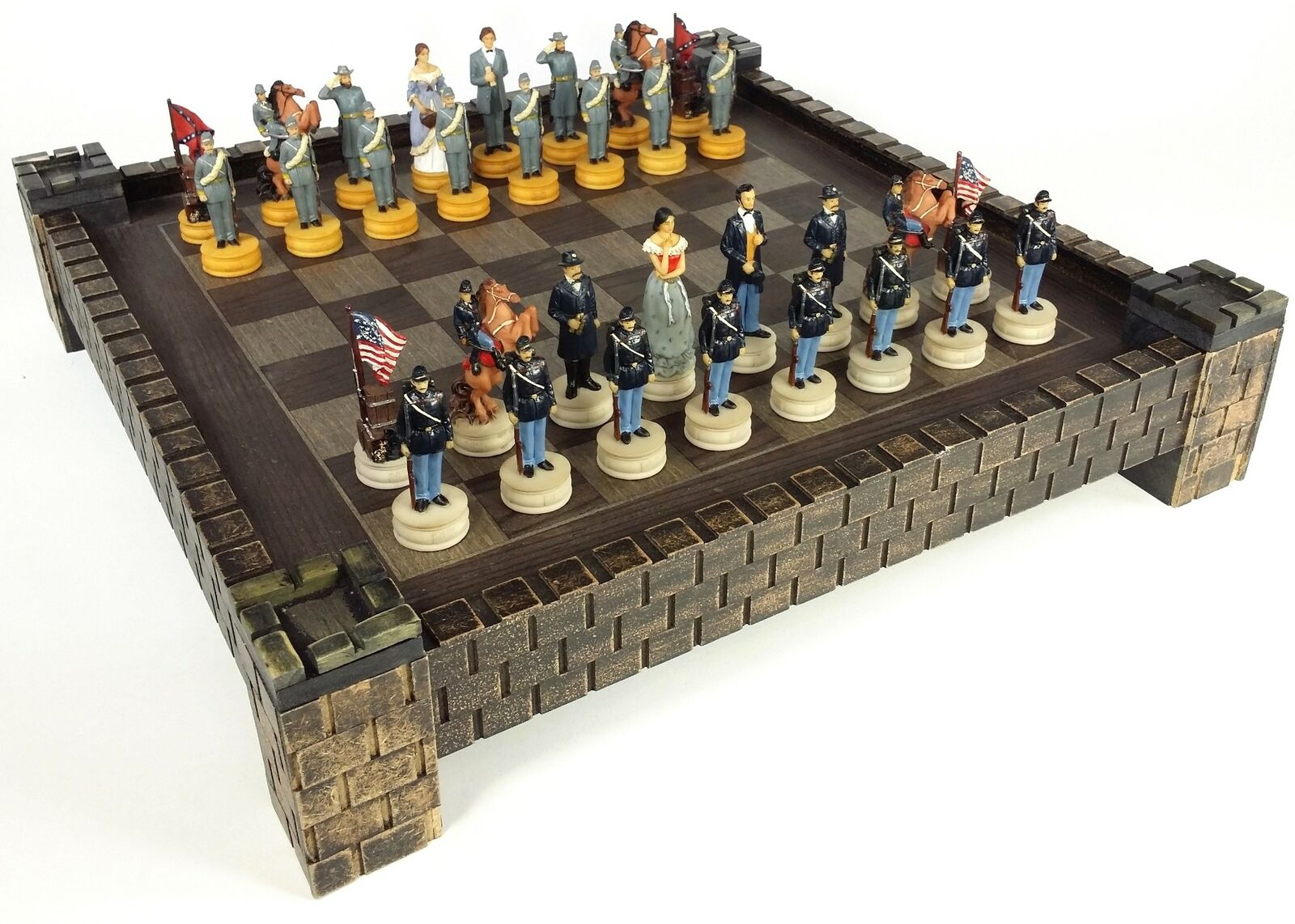 American US Civil War Queens North vs South Chess Set 17  Fortress Castle Board