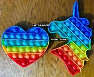 RAINBOW Push Pop Bubble Kids Toy Needs Silent Sensory Fidget Autism Classroom UK