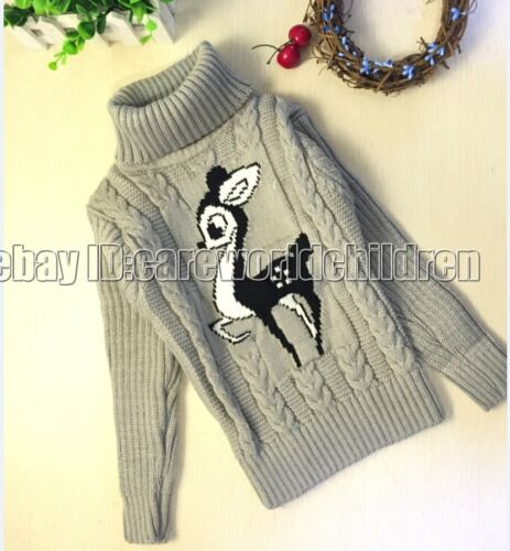 Children Kid  Cartoon Deer Pullover Knitting Turtleneck Warm Outerwear Sweater