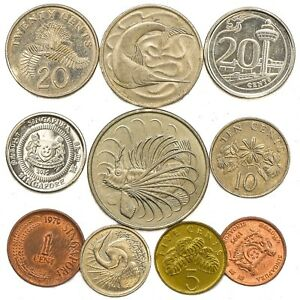 SINGAPORE-COINS-FROM-SOUTHEAST-ASIA-ISLAND-SINGAPOREAN-OLD-COLLECTIBLE-COINS-SET