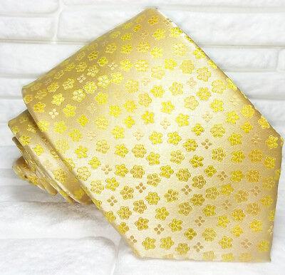 Cravatta Uomo Giallo Oro Fiori 100% Seta Made In Italy Evento Matrimonio