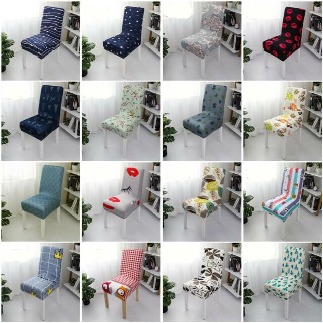 Removable Elastic Stretch Slipcovers Short Dining Room Chair Seat Cover Decor
