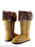Ugg Australia Rosana Chestnut Brown Suede Leather & Lamb Fur Tall Boot Size 7