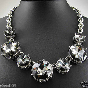 New Design Women gorgeous Bib Statement multi crystal Floral necklace collar 402