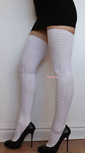 8a1278d1369 Extra Long Thigh High Over The Knee Socks OTK White Cable Knit Boot ...