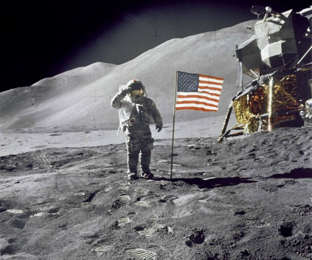 apollo 11 moon landing Glossy Photographic print  salute the American flag