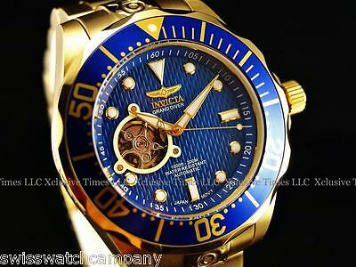 Invicta Men's SUPER GRAND DIVER 18KGIP Open Heart Blue DL NH38A Automatic Watch
