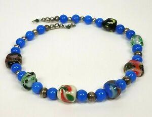 Vintage-Art-Glass-Lampwork-Bead-Choker-Necklace-Blue-Silver