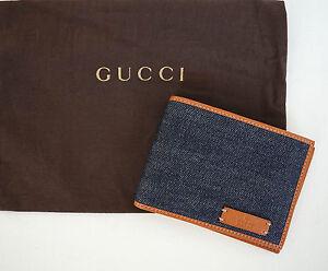 fd5ede2e586 New Authentic GUCCI Denim and Saffron Leather BIFOLD Wallet  278596 ...