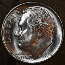 90/% Silver US Coin OBW Roll 1956 D Roosevelt Dime CH BU LUSTER