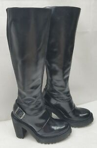 91a79497070 Details about Doc Dr.Martens Womens Boots Lyanna Polished Knee High Tall  Black Leather Size: 5