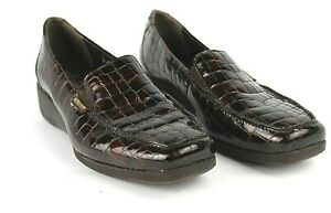 MEPHISTO-Loafers-Womens-8-US-Air-Jet-Brown-Croc-Patent-Leather-Wedge-Comfort