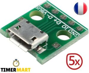 Adapteur convertisseur USB to DIP/ Micro USB DIP 5 broches, connecteur femelle