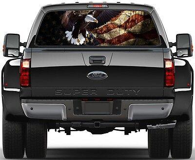 Gadsden US Old Flag Bald Eagel  Rear Window Graphic Decal  Truck Van