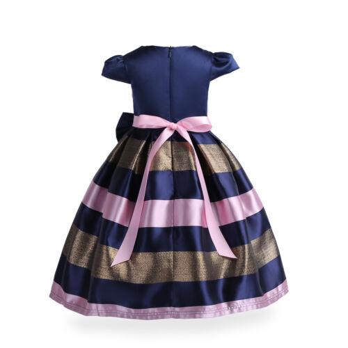 Kids Girls Striped Formal Fancy Princess Pageant Wedding Bridesmaid Dress K23