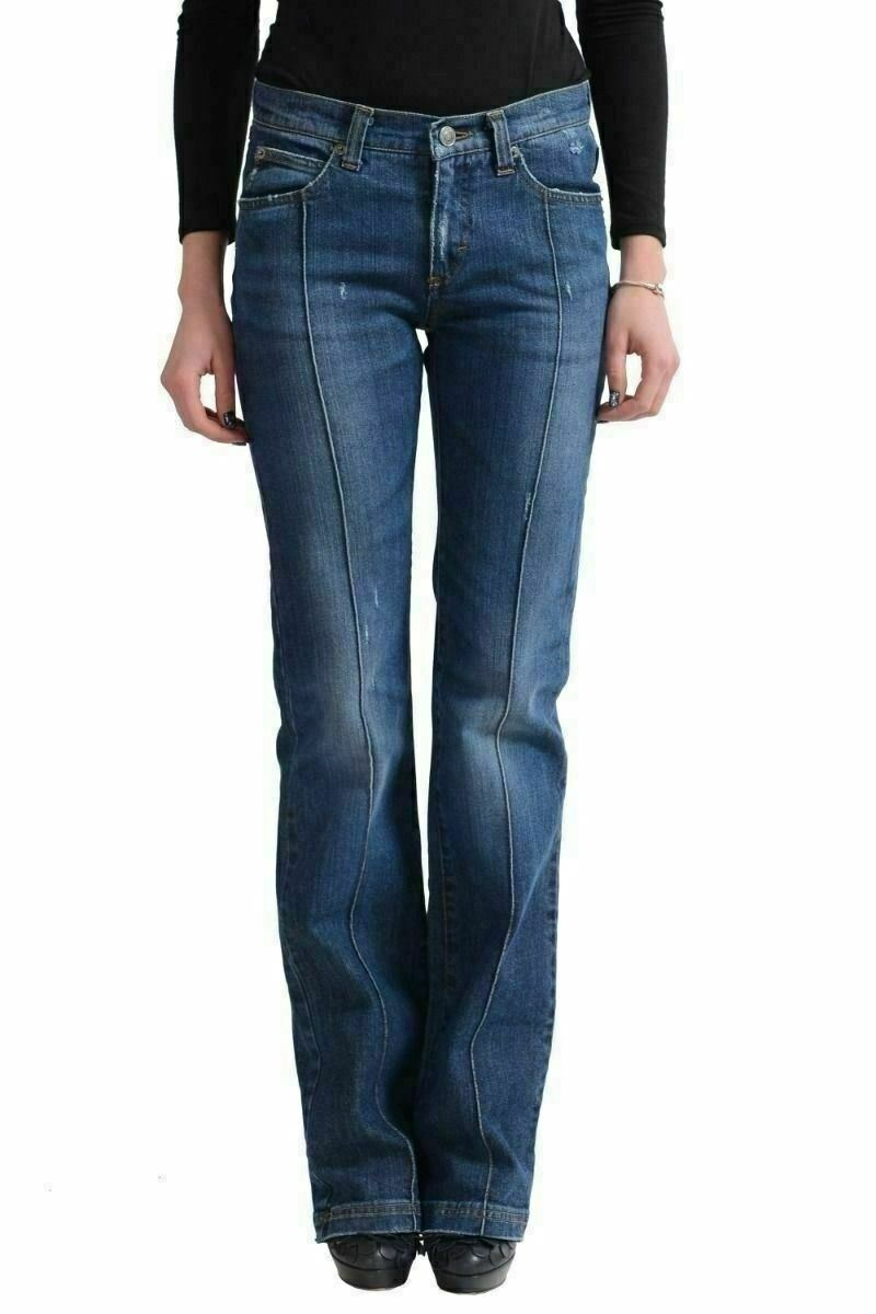Versace Jeans Couture Distressed Denim Straight Legs Women's Jeans US 4 IT 26