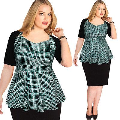 Womens Plus Size Elegant Peplum Check Casual Work Slim Sheath Top Blouse 2829