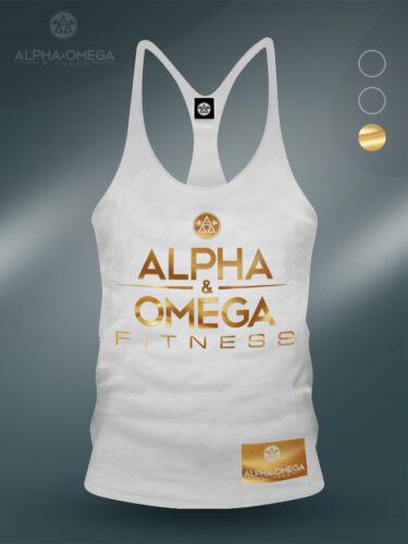 AAO Fitness White// Gold V3 Ltd Bodybuilding Gym Muscle Stringer Vest