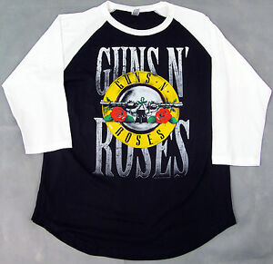 GUNS-N-ROSES-Raglan-T-shirt-GNR-3-4sleeve-Baseball-Tee-Adult-M-L-XL-2XL-New