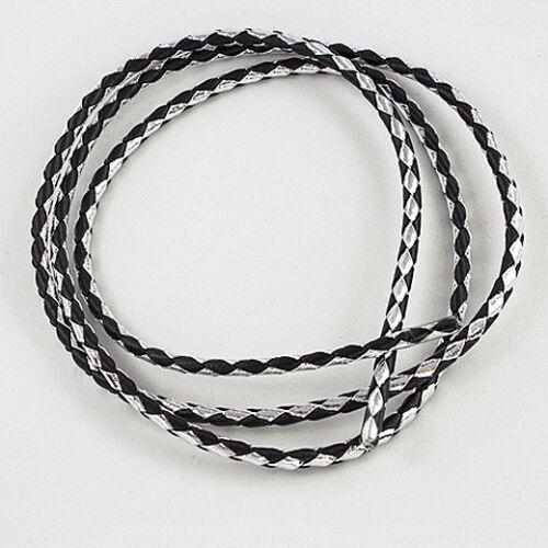 """36/"""" x 4mm Braided Bolo Cord Bolo Tie Cord Metallic Silver /& Black"""
