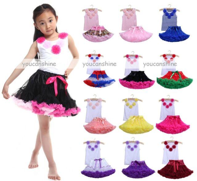 Toddler Girl Baby Kid's Pettiskirt Tutu Princess Skirt Party Dress Tops Set 2-9T