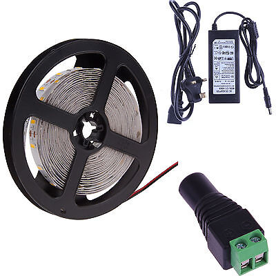 3528 5050 5630 5M White 300 SMD 12V LED Flexible Strip Light Waterproof +Adapter