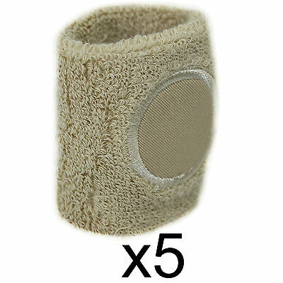 Sweat Band Wrist Gym Sports Wristband Tennis Badminton Squash Cream 5 Pack