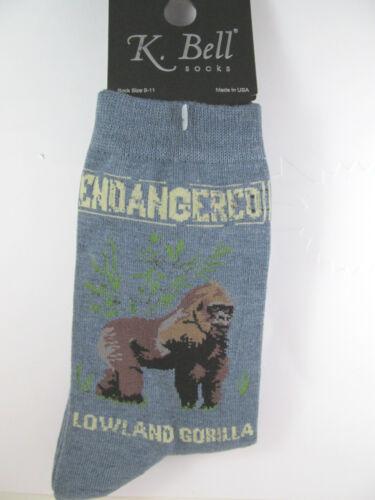 K.Bell Endangered Lowland Gorillas Denim Blue Ladies Womens Crew Socks New