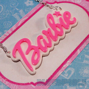 FUNKY-LARGE-BARBIE-NAME-NECKLACE-CUTE-KITSCH-RETRO-SWEET-KAWAII-BABY-PENDANT