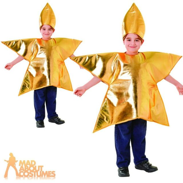 Gold Star Nativity Costume Headpiece Kids Child Fancy Dress Onstage Outfits Xmas