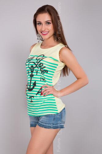 Weste für Damen Ny City Bedruckt Ärmellos Baumwolle T-Shirt Tunika-Größen 8-14