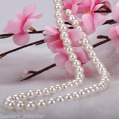 Fashion Women Elegant Faux Pearl Beads Necklace Chunky Cluster Bib Chain Charm