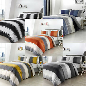 1050caddb01b Image is loading Fusion-BETLEY-Modern-Wide-Striped-Duvet-Cover-Quilt-