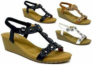 New-Ladies-Women-Stud-Flower-Wedge-Strappy-Reveal-New-Look-Sandal-UK-Size-3-8