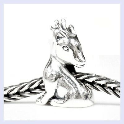 Sterling Silver Christmas Gift Reindeer Deer Bead for European Charm Bracelet