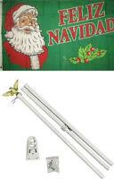 3x5 Merry Christmas Feliz Navidad Flag White Pole Kit Set 3'x5'