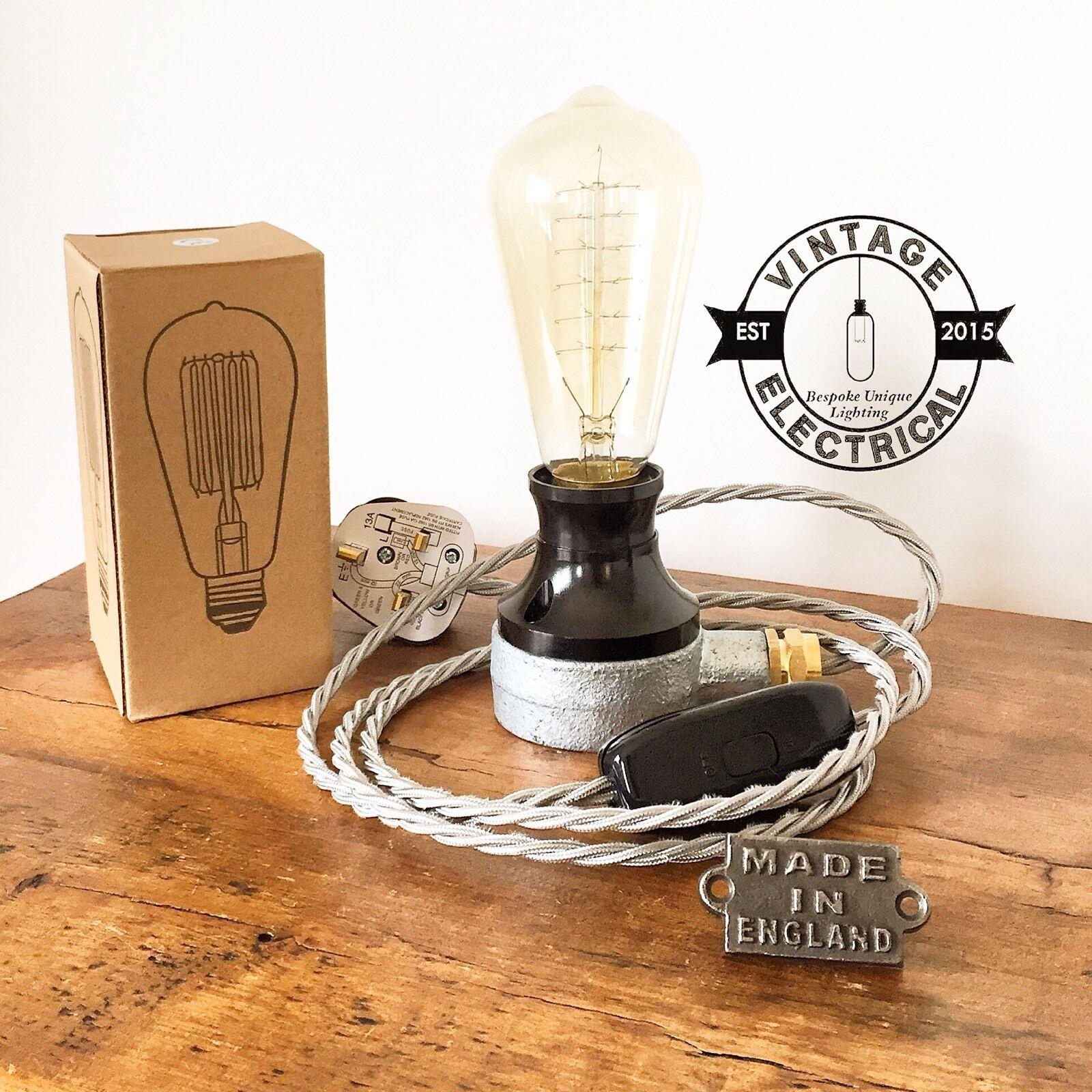INDUSTRIAL TABLE LIGHT DESK LAMP BEDSIDE TABLE DESK STEAMPUNK CABLE UK PLUG