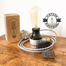 NEW INDUSTRIAL TABLE LIGHT DESK LAMP BEDSIDE TABLE DESK STEAMPUNK CABLE UK PLUG