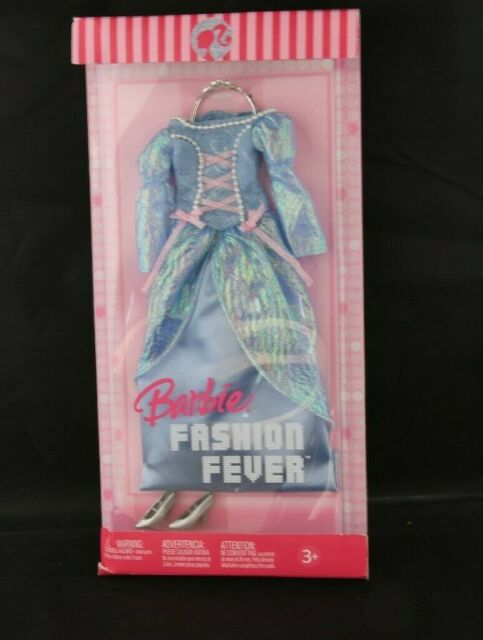 New 2006 Barbie Fashion Fever Pink Label Clothing Blue Dress NRFB