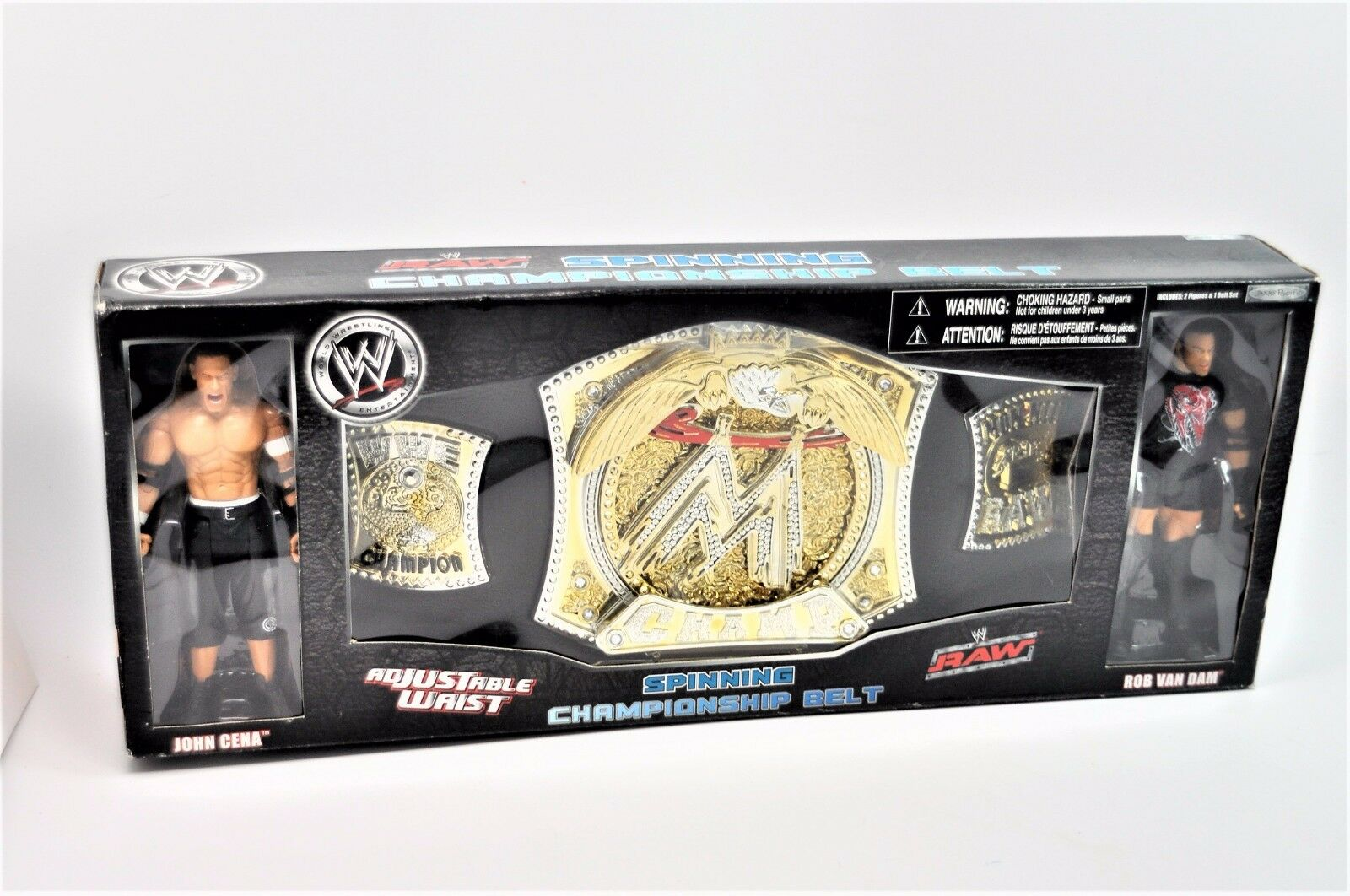 WWE Raw Spinning Championship Belt Figures Cena Van Dam RARE World Wrestling